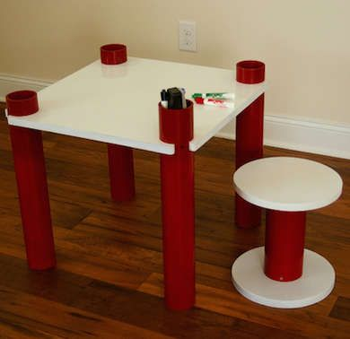 Create This Simple DIY Kids Table With PVC For Table Legs And Stool Support