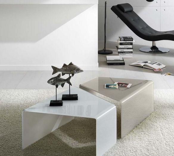 design couchtische weiß beige glas form Möbel Ideen Pinterest - couchtisch aus glas ideen interieur