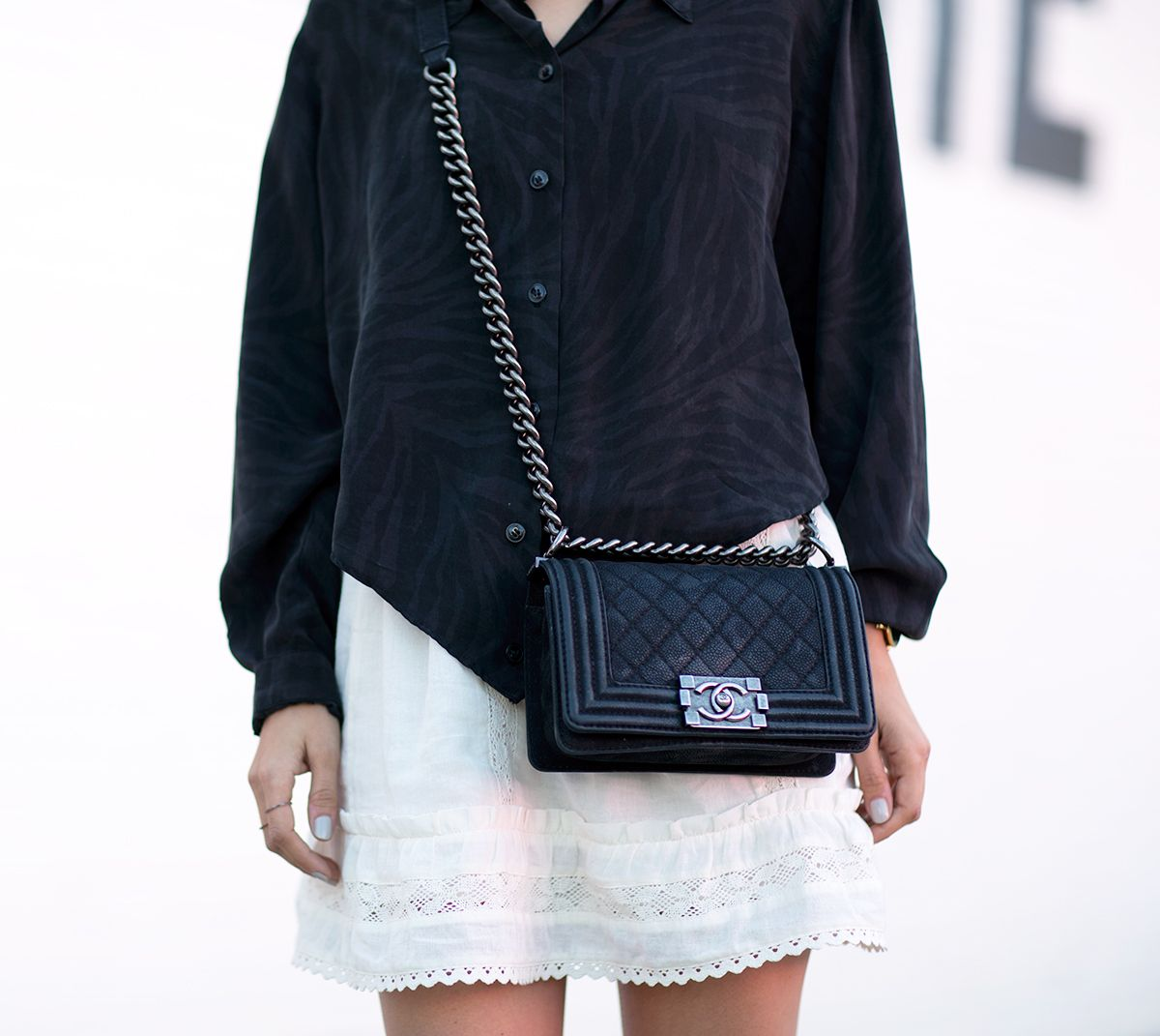 Chanel Boy Bag with Chain Strap Blogger Courtney Trop Top Los Angeles Blogger