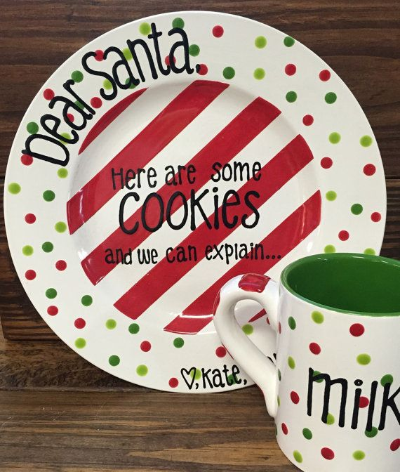 Cookies for Santa Plate and Mug Set by LaurenFrenchPottery on Etsy #cookiesforsanta #christmas #  sc 1 st  Pinterest & Cookies for Santa Plate and Mug Set by LaurenFrenchPottery on Etsy ...