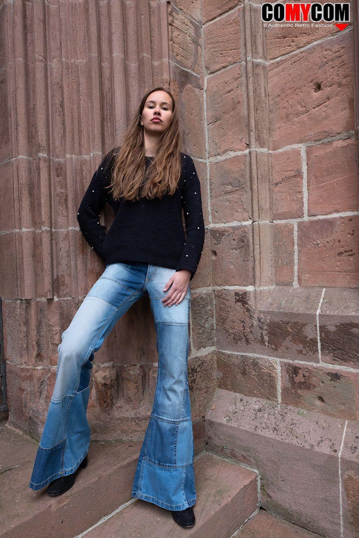 Damen Jeans Patchwork Schlaghose Star Composite in 2019