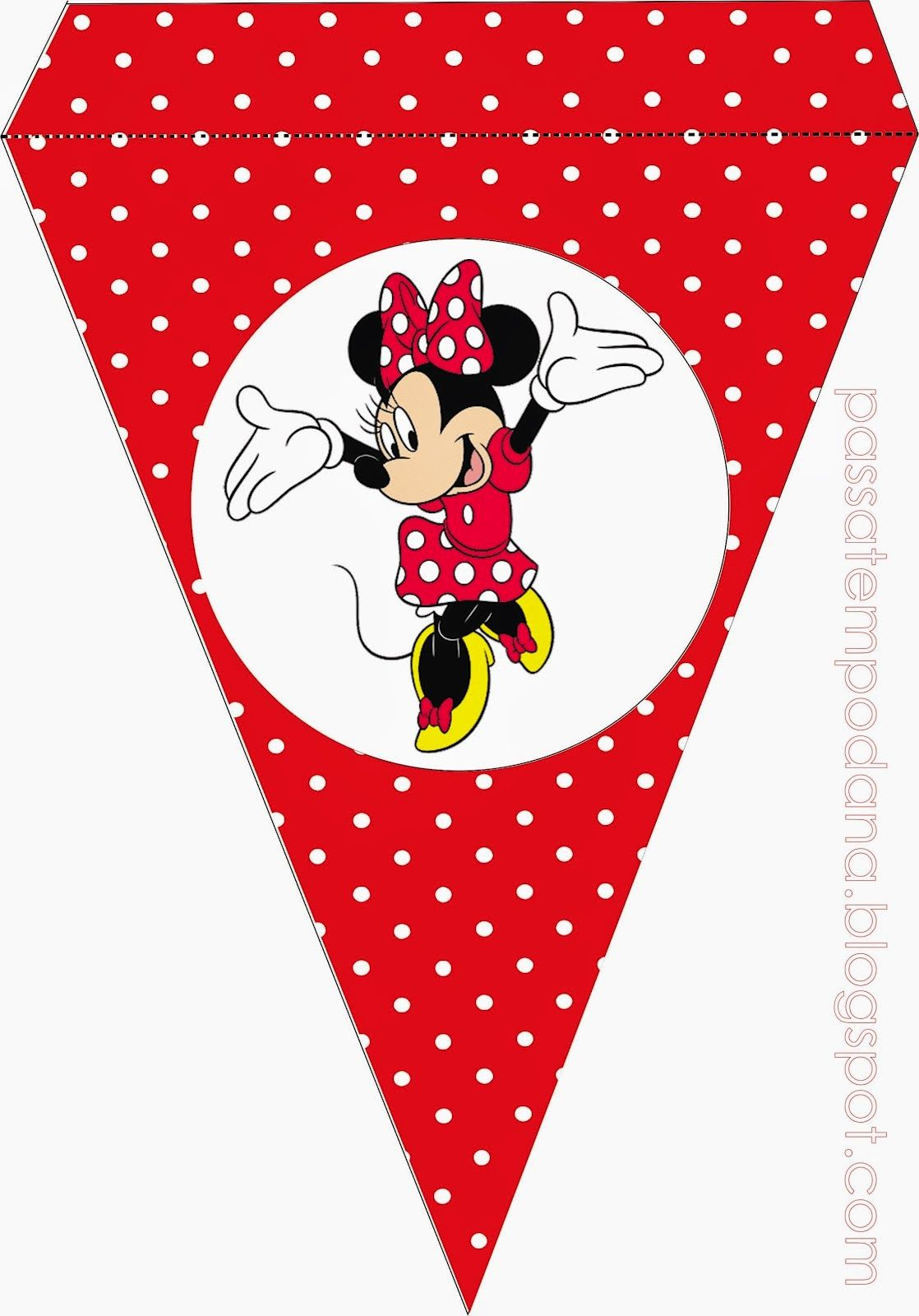 Minnie in Red Free Printable Bunting. | Birthday Party ...