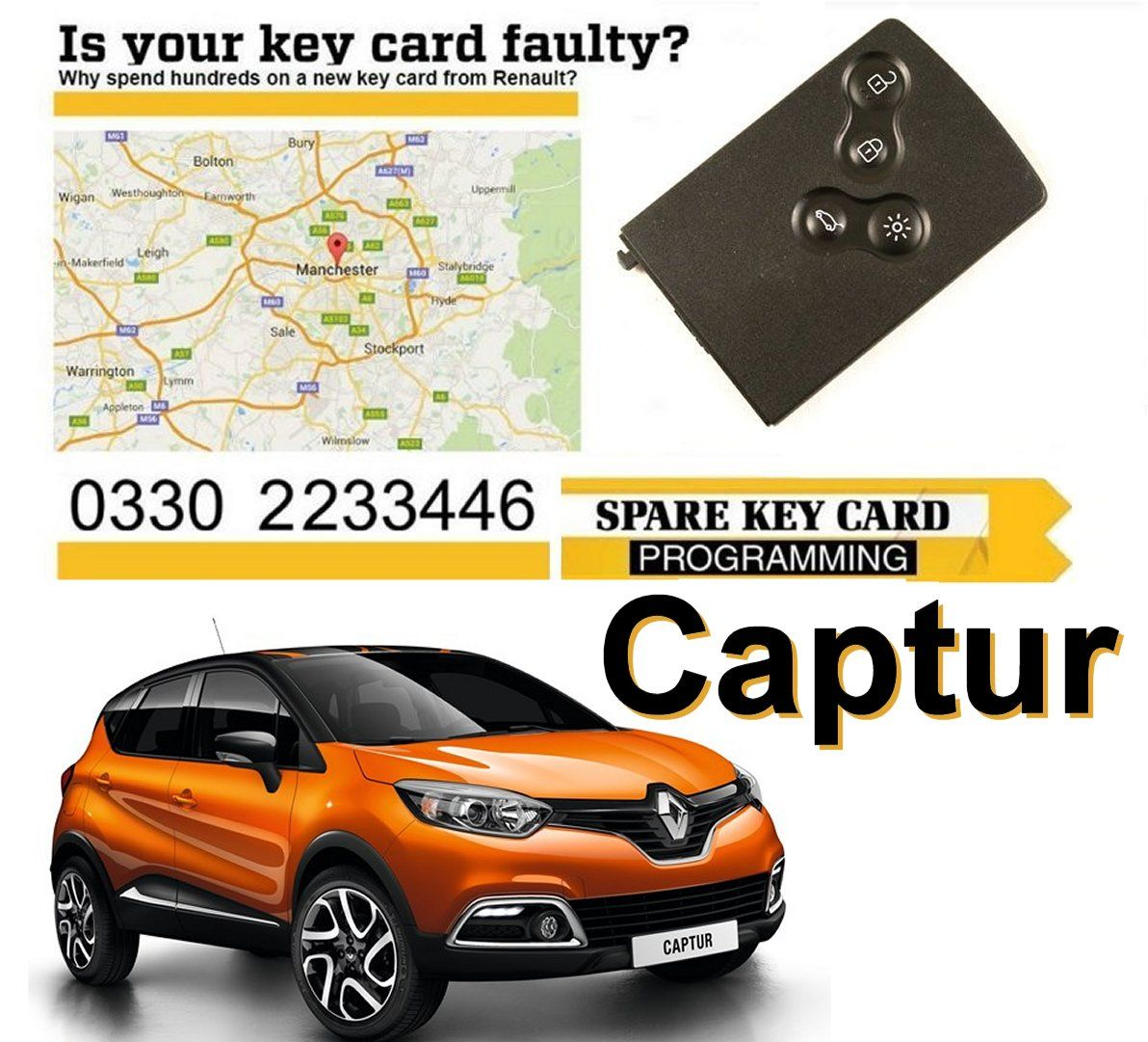 Renault Captur 2016 Replacement 4 Button Remote Key Card Renault