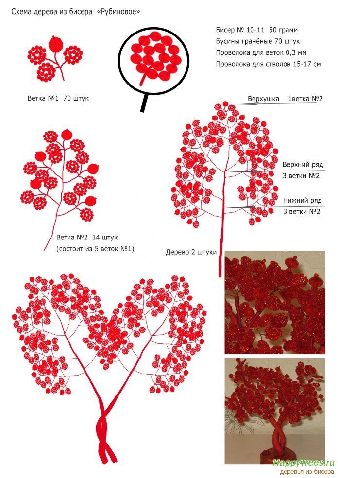 фото деревья из бисера фото и схемы