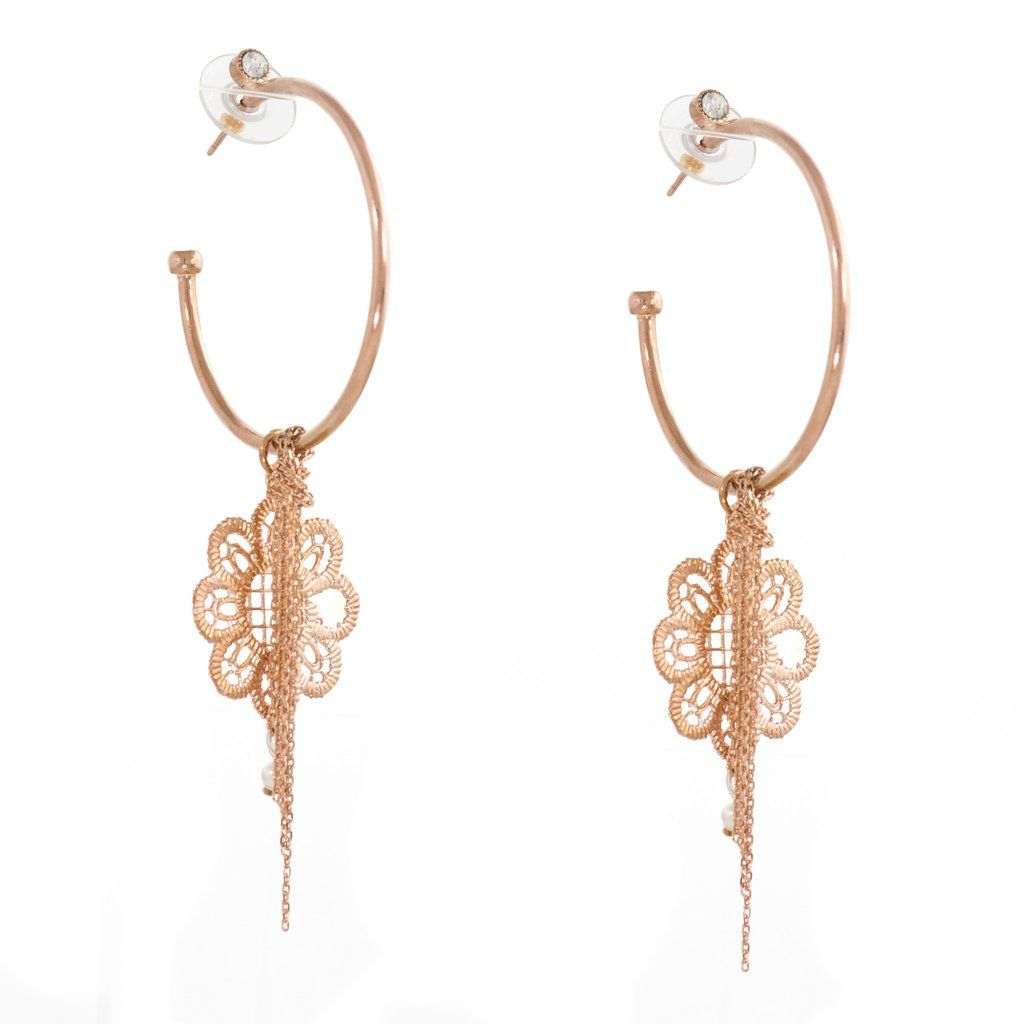 Rose Gold Hoop Earrings by LK Designs #jjcaprices