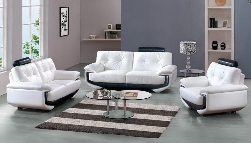 White leather sofa set with black accents miami florida for Leather sofa set