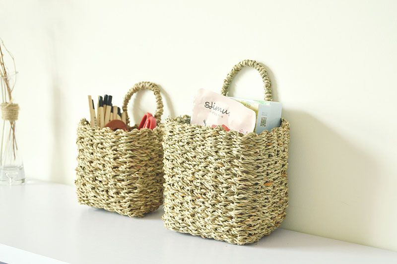 10pcs Japanese Style Wall Hanging Baskets Wicker Aquatic Handmade Plant Holder Home Storage Bedroom Organization ZA3906-in Storage Baskets from Home & Garden on Aliexpress.com | Alibaba Group
