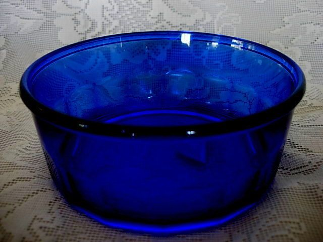 Collectible Vintage Cobalt Blue Glass Serving Bowl Made In