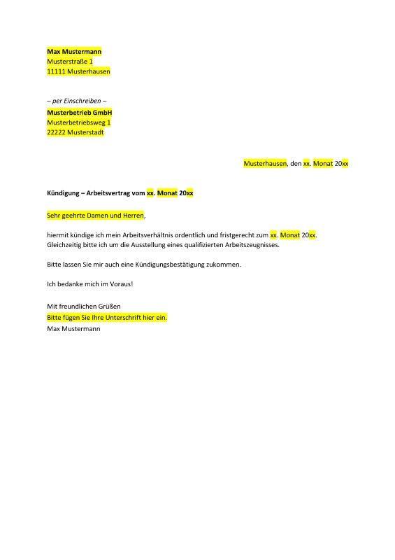 muster fr ein schreiben mit dem man ein arbeitsverhltnis kndigen kann kndigungsschreiben vorlagen muster pinterest - Arbeitsvertrag Kundigung Muster