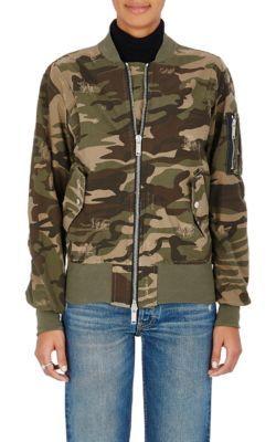 BEN TAVERNITI UNRAVEL PROJECT Camouflage Cotton-Blend Distressed Bomber Jacket. #bentavernitiunravelproject #cloth #jacket