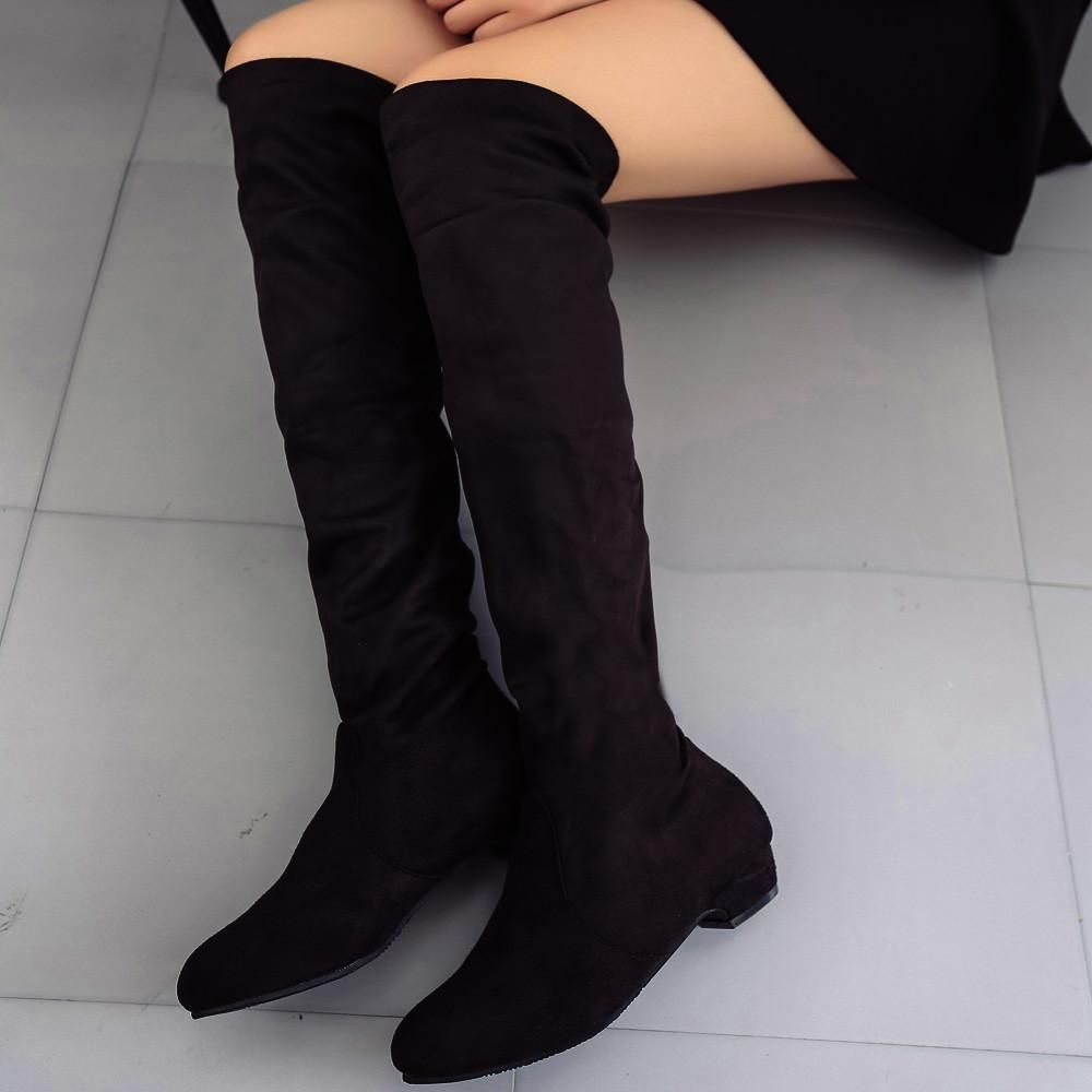 8d730aa45eb4 Women's Ladies Suede Knee High Boots Free Shipping via ePacket Size Chart