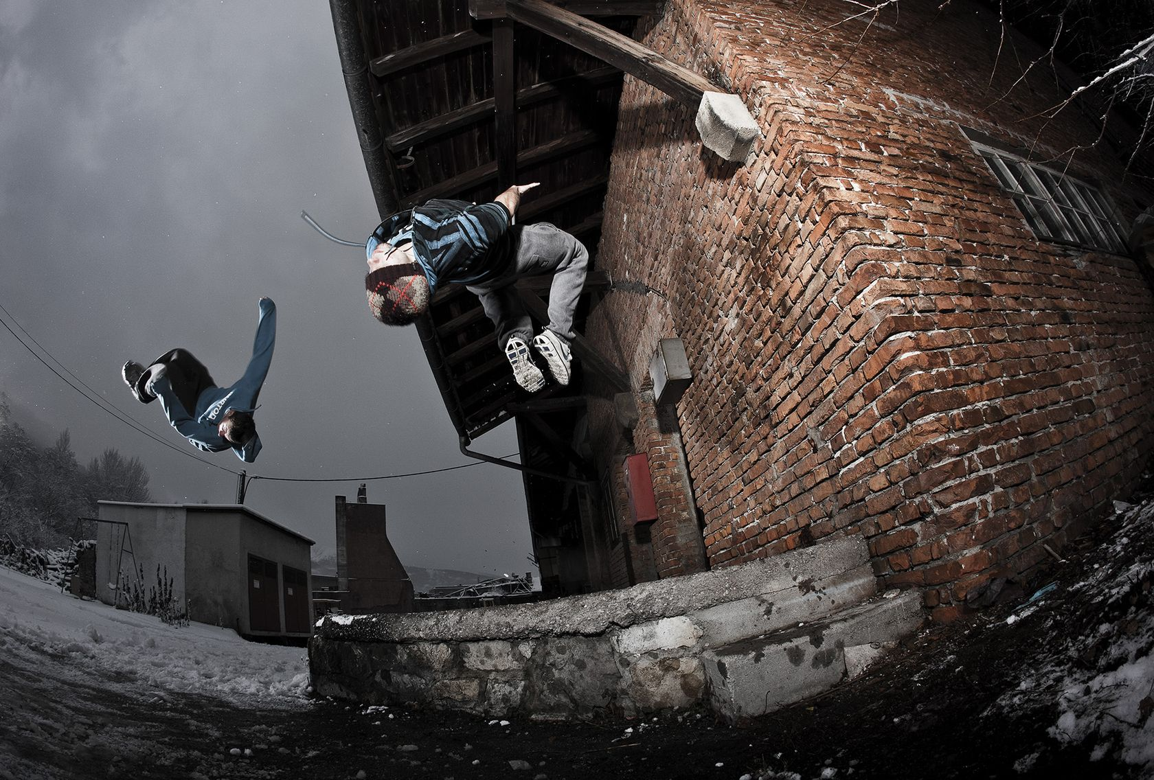 Free Runners mid-flip by photographer Christian Vorhofer
