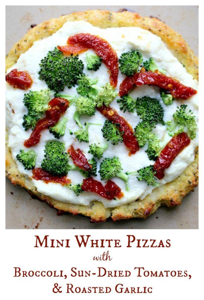 Mini White Pizza's with Broccoli, Sun-Dried Tomatoes, & Roasted Garlic