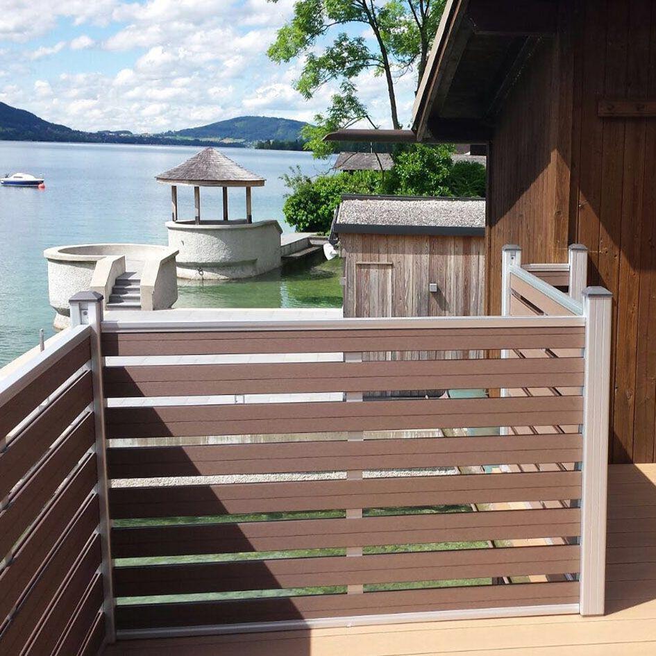 Terrace wood plastic fence railing board cheap pvc wpc for Terrace fence