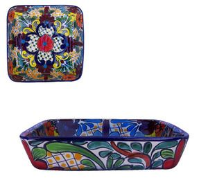 A rustic talavera square tray belongs to our rustic home decor category. Its green and terracotta pattern painted over white background will add flair to the living space. by Rustica House #myRustica