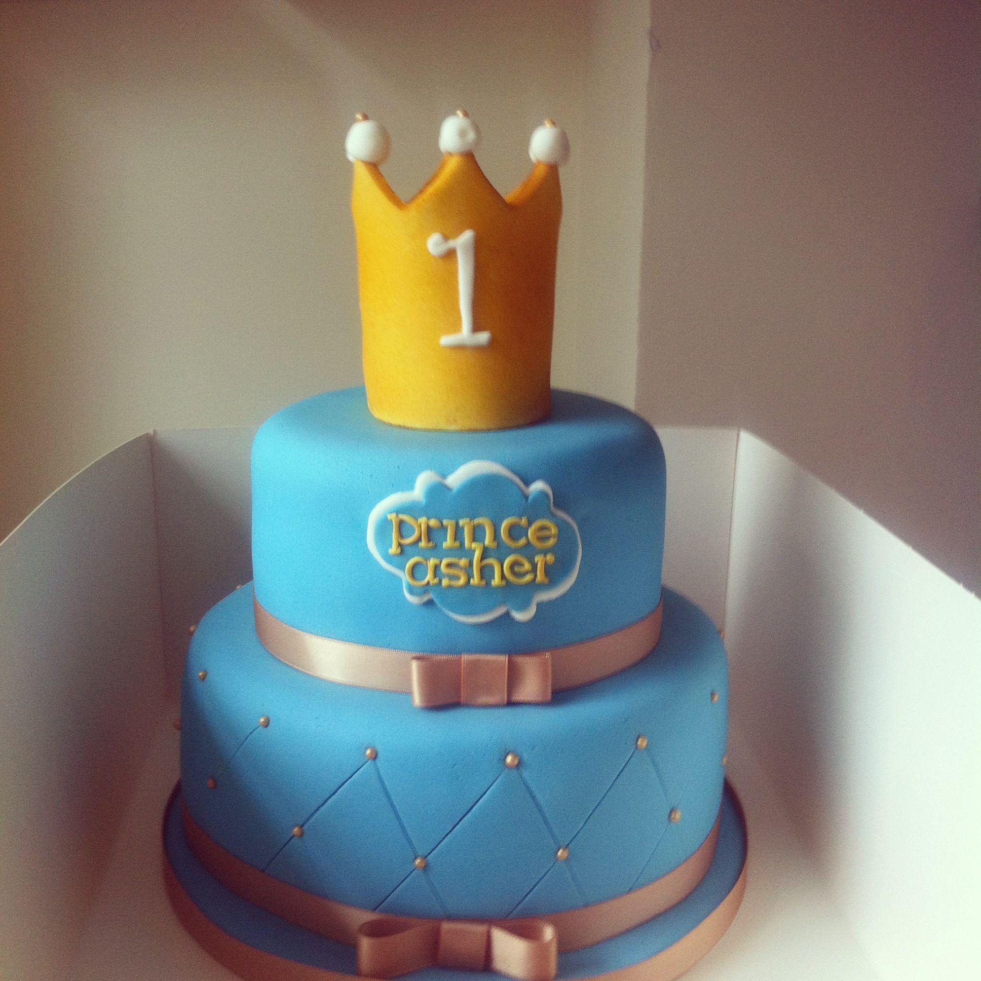 Golden Crown Cake For Boys 1st Birthday