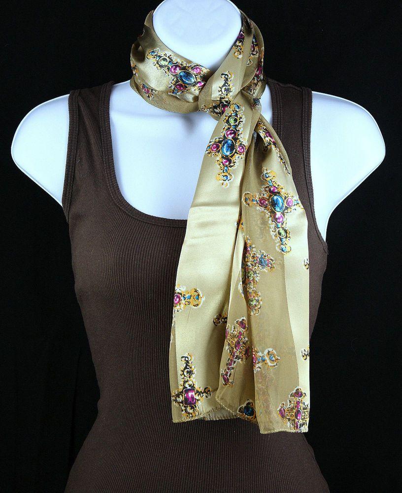 new jeweled cross womens religious scarf christian scarfs