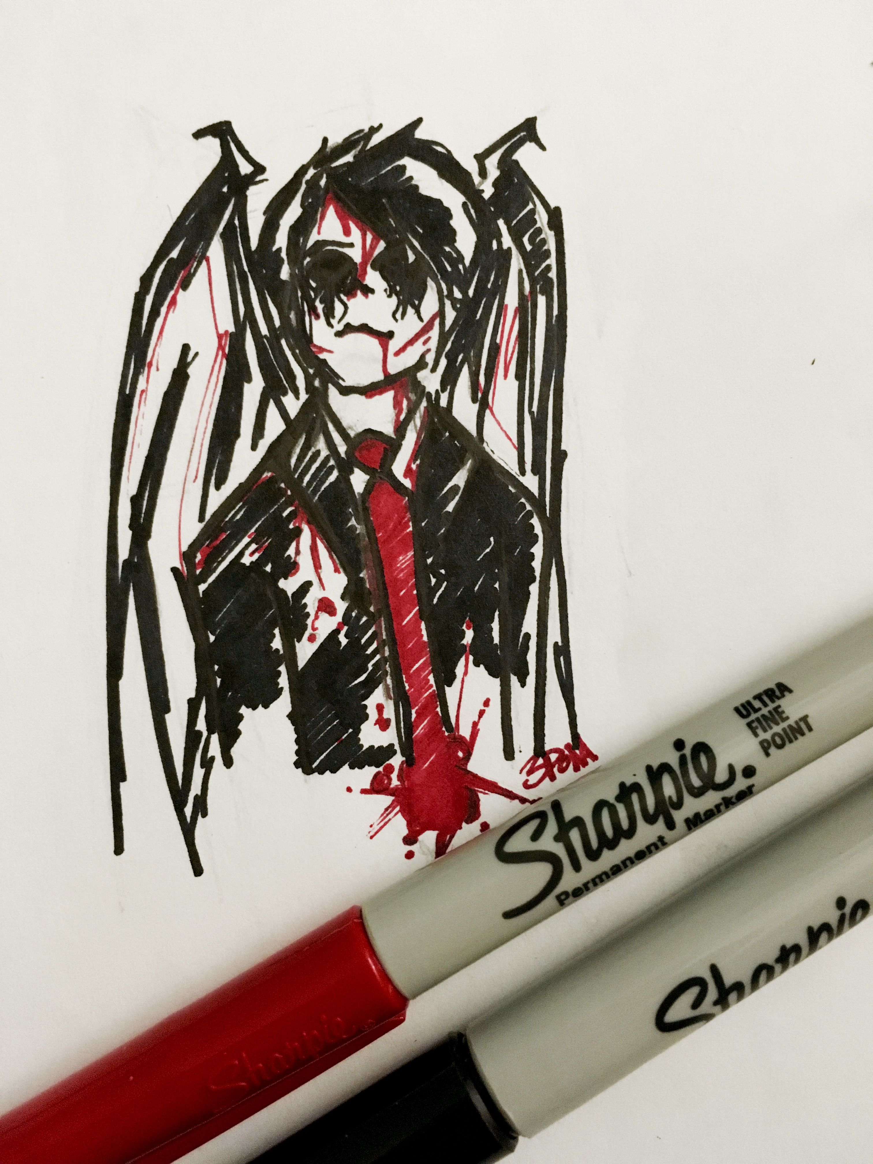 This Is Really Dark And Messy But It S Supposed To Be A Demon Ish Revenge Era Gerard My Chemical Romance Fan Art Drawing Fan Art