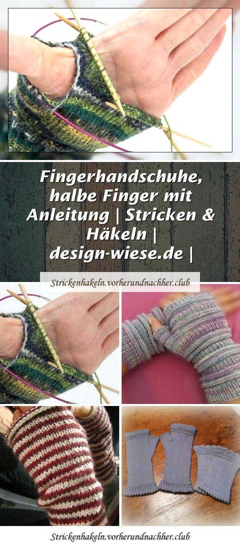 Photo of fingerlose Handstulpen mit Daumenzwickel * Anleitung für Strickmaschine / Pfaff…