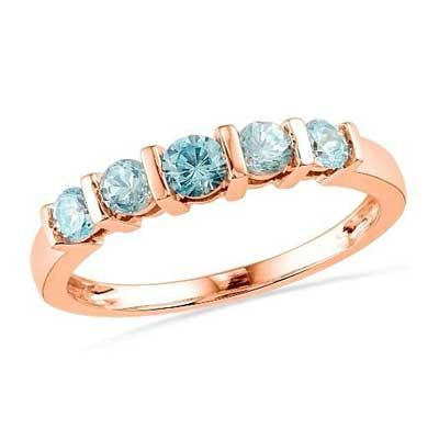 Zales Blue Topaz Five Stone Anniversary Band in 10K Rose Gold 1fTRzBtgAs