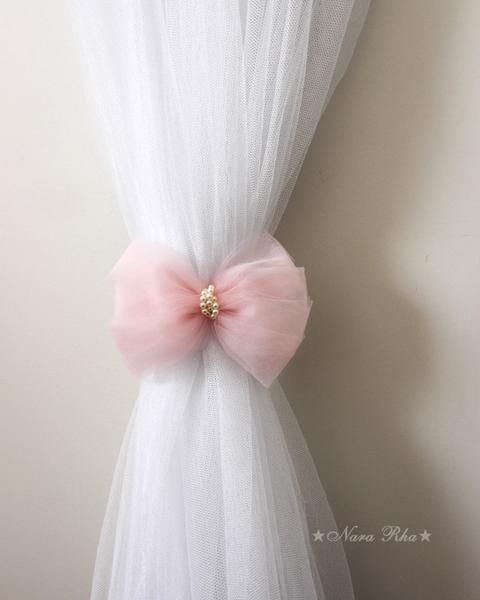 Bow Curtain Tie Backs Pink Bow Tie Backs Curtain Holdback Etsy