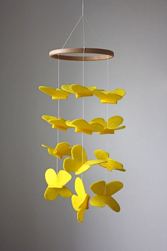 Sunny Yellow Butterfly Crib Mobile Modern Nursery Or Kid