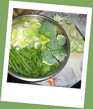 Soupe aux légumes verts.