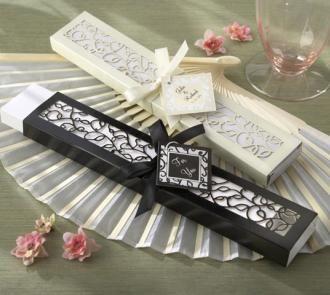 Luxurious Silk Fan in Elegant, Laser-Cut Gift Box - Set of 4  24+ sets of 4 $6 each