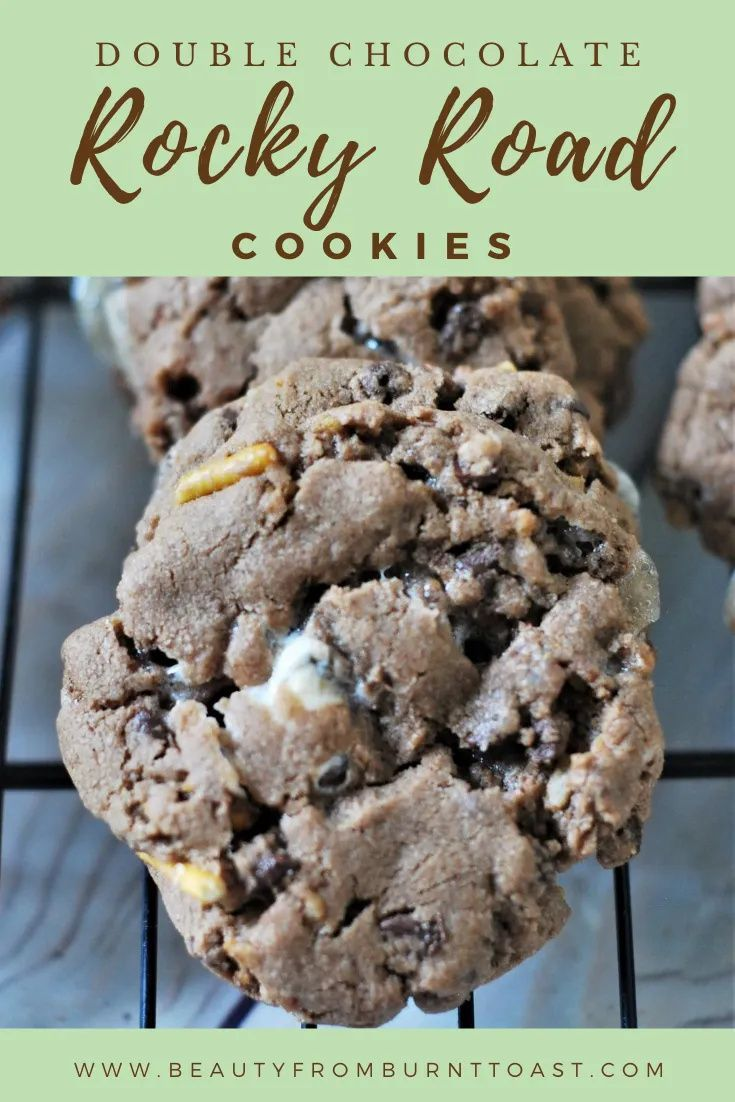 When you combine chocolate, marshmallows and pretzel bits you really can't go wrong. These Decadent Rocky Road Cookies prove this point beautifully. Wonderfully sweet and rich with a salty bite to balance, these are your new chocolate cookie obsession. Easy Cookie recipes. Easy chocolate cookie recipes. Easy and simple chocolate chip cookie recipes. The best easy cookie recipe. #easycookierecipes #chocolatecookierecipes #chocolatechipcookierecipe #rockyroad