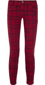 Current/Elliott The Stiletto plaid mid-rise skinny jeans GBP162. If one has enough plain coloured jeans, then plaid is the way to go next!!!