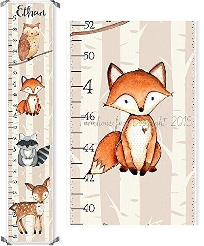 Woodland Fox Raccoon Owl And Deer Canvas Boys Growth Chart