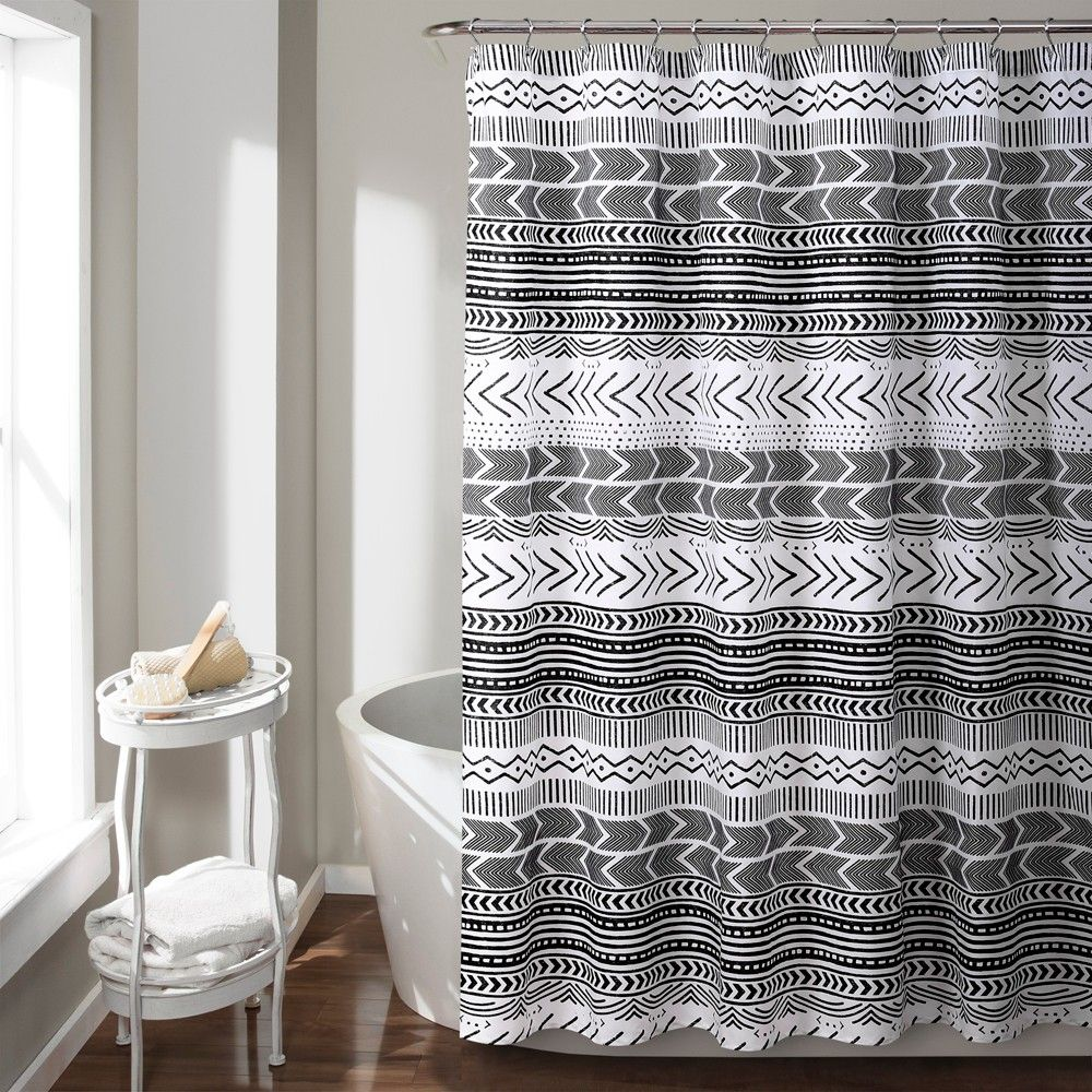 SHOWER CURTAIN LUSH DECOR NESCO STRIPE NAVY CORAL GRAY