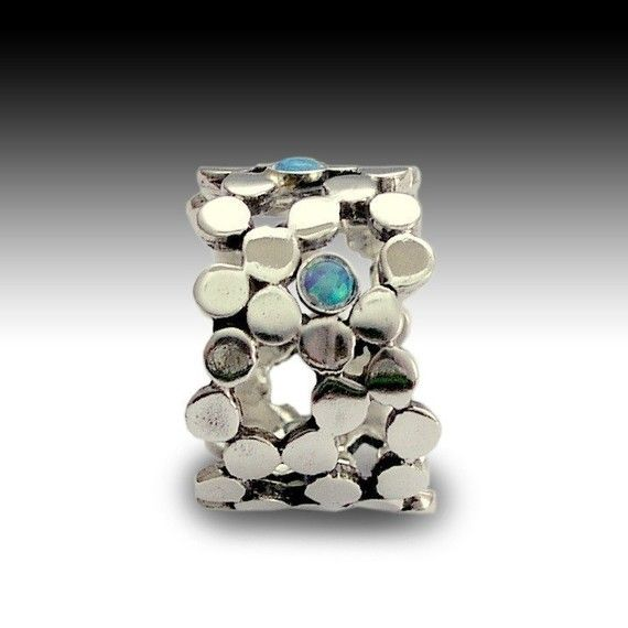 Sterling silver dotted wedding ring with blue opals by artisanlook, $98.00