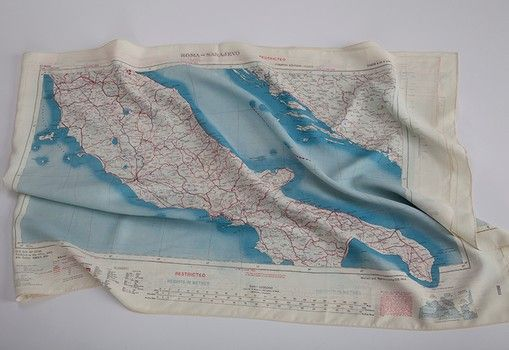 Authentic Silk Escape Map Scarf Italy, from the British War Office - copy flat world survival map download