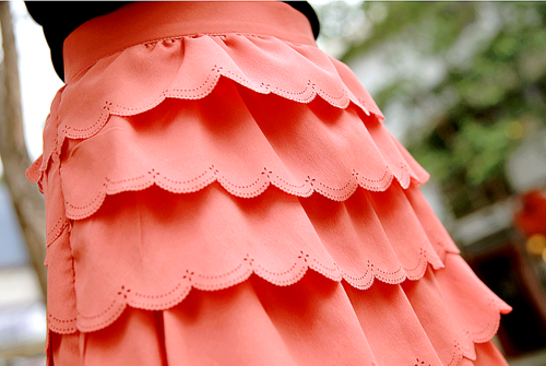 Coral Scalloped Skirt
