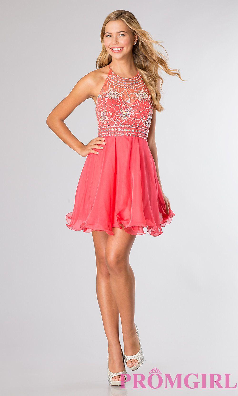 Blush Short Halter Top Homecoming Dress-PromGirl | Dresses ...