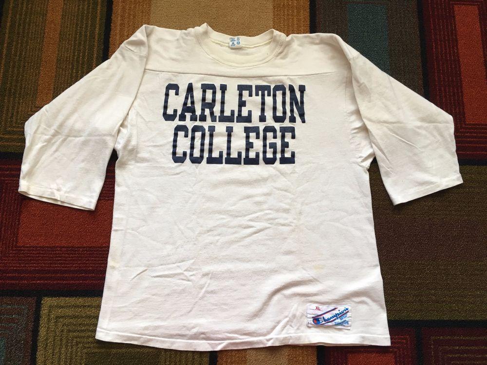 f4843f8fd Vintage 80s Champion Carleton College Jersey Shirt 3/4 Sleeve USA sz XL USA  #Champion #Jersey