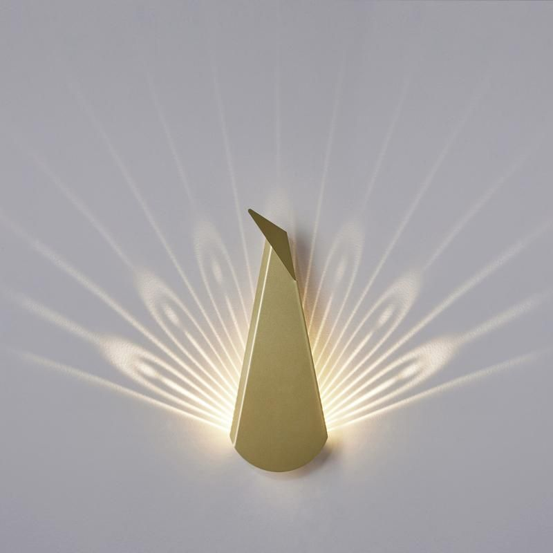 Gold Aluminum Peacock LED Light Fixture is part of Home Accessories Decor Lamps - The Popup Lighting peacock is a decorative lamp, painted folded aluminum and steel  When lights are on it becomes 40x40cm of light and brilliancy