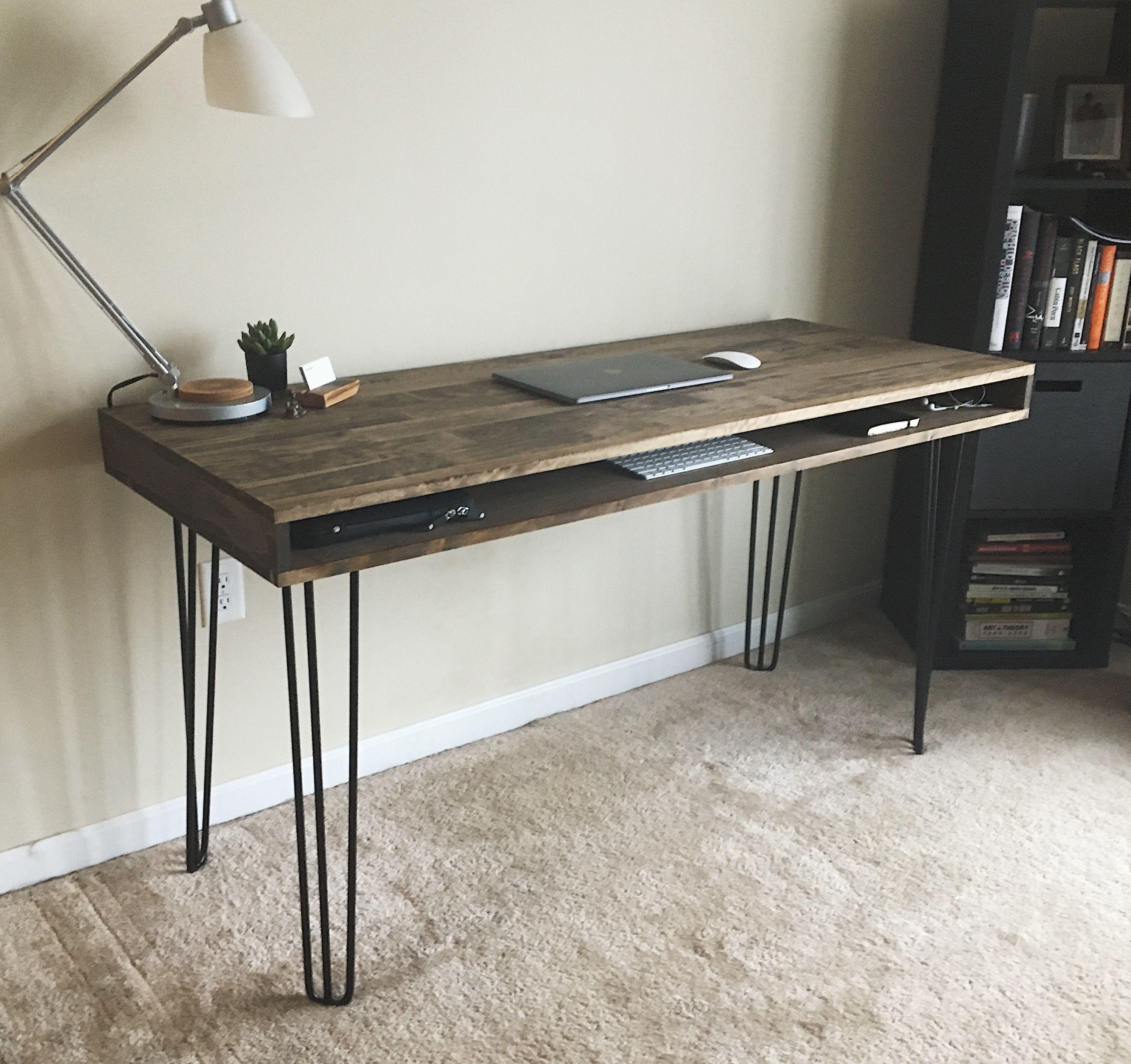 Diy Modern Hairpin Leg Desk 60 X 24 Diy Computer Desk Home Office Setup Diy Furniture Projects