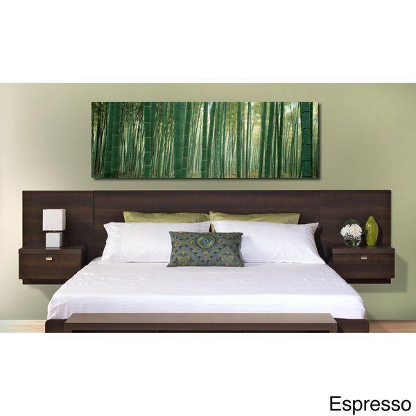 Black King Size Headboard Wall Mounted Nightstands Modern Bed