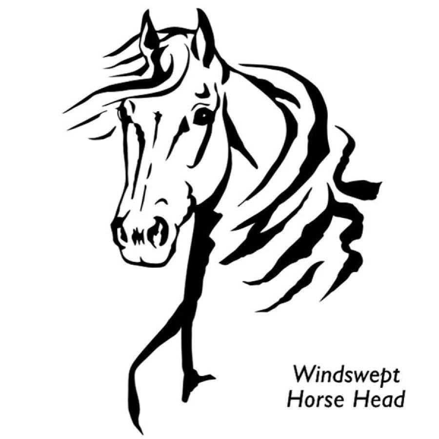 Windswept Horse Head Decal Western Wear Equestrian Inspired - Horse decals for trucks