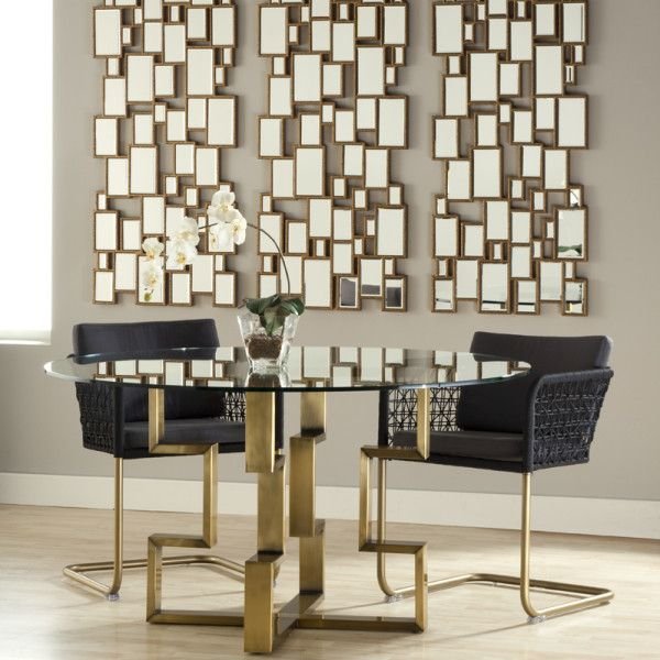 Margaux Dining Table Tempered 54u2033 Round Glass Top Table On Satin Brass  Plated Base Made