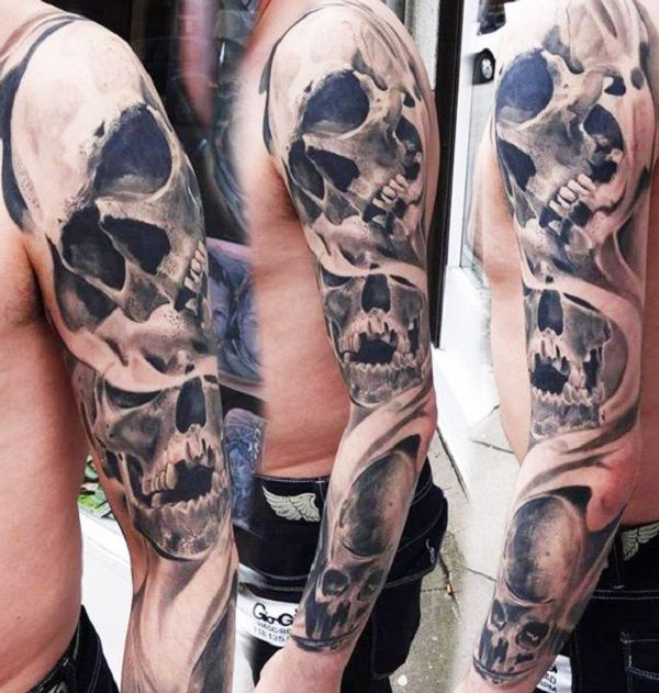 80 Frightening And Meaningful Skull Tattoos Nenuno Creative Skull Tattoos Skull Sleeve Tattoos Skull Sleeve
