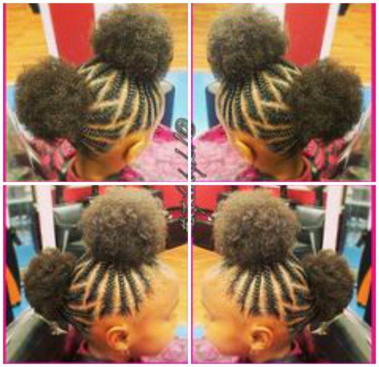 29 Braided Cornrows With Buns For Little Black Girls Afrocosmopolitan Girls Hairstyles Braids Baby Girl Hairstyles Little Girl Hairstyles