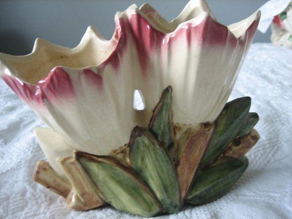 Rare Mccoy Pottery Flower Double Low Tulip Vase Mccoy Pottery