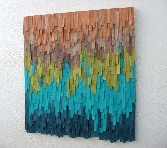 Looks Diyable With Dyed Popsicle Sticks Wood Wall Art By Modernrusticart Stick Art Popsicle Stick Art Craft Stick Crafts
