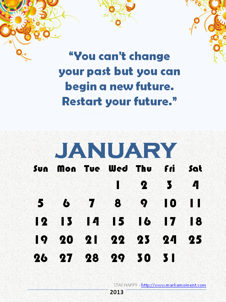 Calendar Inspiration 2014 : Yearly quotes calendar monthly motivational