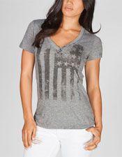 Distressed American Flag Womens Tee - $24