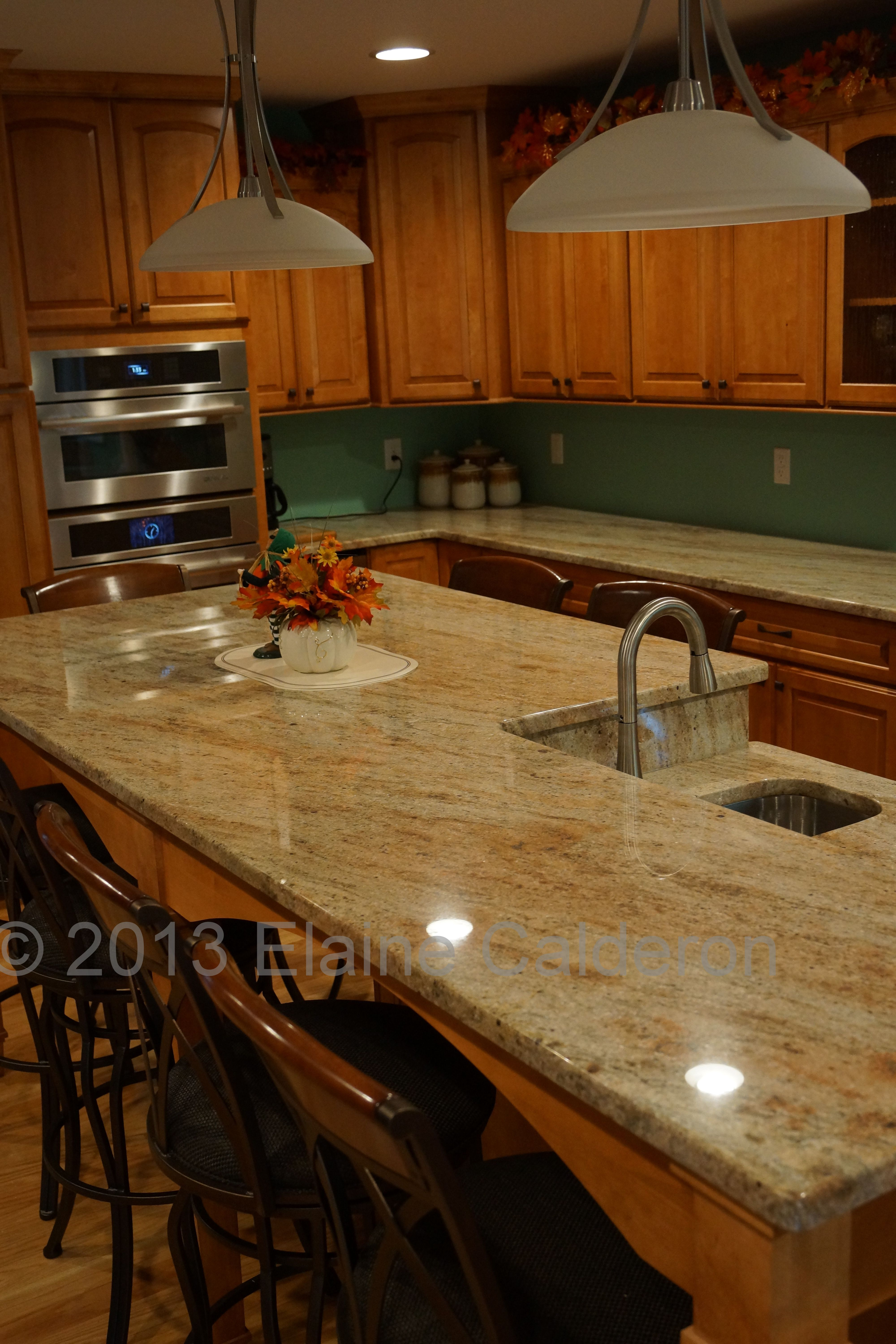 Colonial Cream Granite Kitchen Subway Tile And Strip Of Mosaic On Colonial Cream Granite Decor