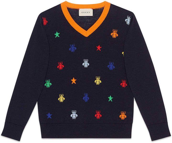 e76da3122 Gucci Kids Children s bees and stars jacquard merino sweater ...